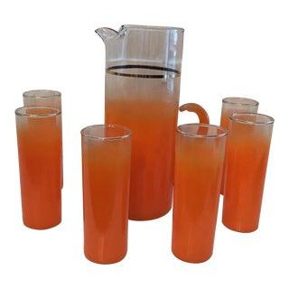 Orange Blendo Pitcher & Tom Collins Glasses - Set of 7