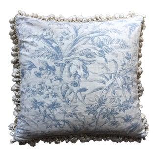 Linen Toile Pillow With Cotton Tassel Fringe