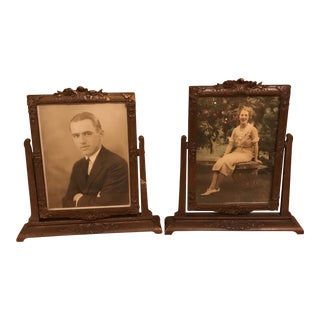 Antique Wood Standing Picture Frames - A Pair