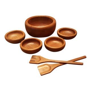 Teak Serveware with Salad Bowl, 4 Serving Bowls & Utensils - Set of 4