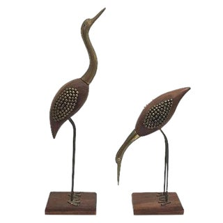 Midcentury Rose Wood & Brass Cranes - A Pair