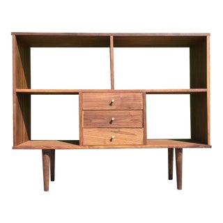 Custom Mid-Century Walnut Bookcase Wall Unit