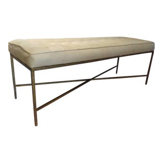Oly Studio Cream Leather Bench