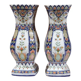 Pair of 19th Century French Hand-Painted Colorful Vases From Rouen Normandy