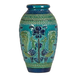 German Glazed Blue and Green Ceramic Vessel, Stamped on Base circa 1900
