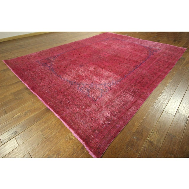 Pink Floral Overdyed Oriental Area Rug - 9' x 12' - Image 2 of 10