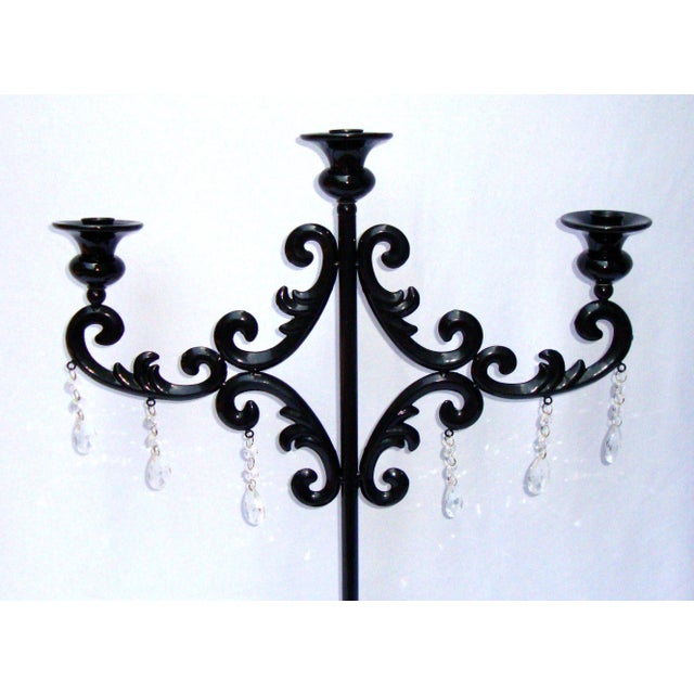 Large Gothic Deco Black Metal Crystal Candelabra - Image 4 of 11