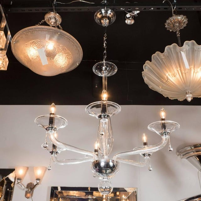 Mid-Century Handblown Six-Arm Murano Chandelier in Clear Glass - Image 8 of 11
