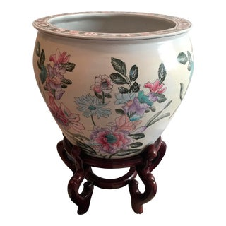 Chinese Porcelain Fish Bowl Jardiniere on Wooden Stand