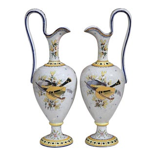 Pair of Early 20th Century French Hand-Painted Water Pitchers From Quimper