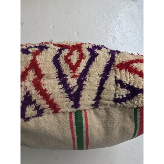 Vintage Moroccan Wool Stuffed Pouf - Image 4 of 7