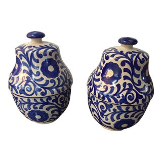 Moroccan Painted Blue & White Jar - A Pair
