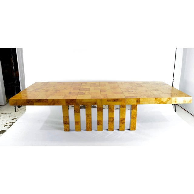 Paul Evans Burl Wood and Chrome Cityscape Dining Table - Image 2 of 10