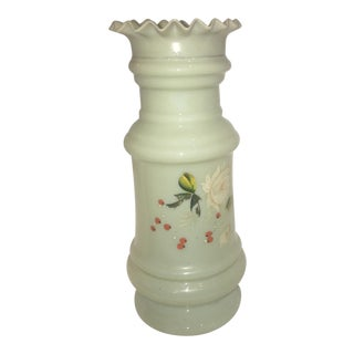 Vintage Jade Color Tall Floral Vase