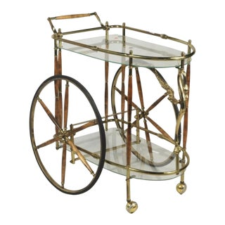 Vintage Brass & Glass Drink Cart