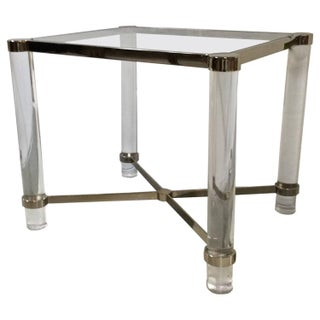 Lucite Side Table With Brass Chrome Details