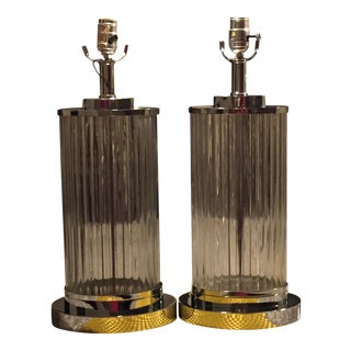 Clear Ribbed Glass Lamps - Pair