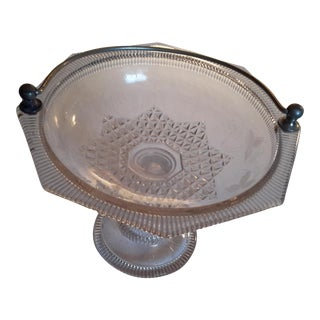 Floral Etched Compote Dish