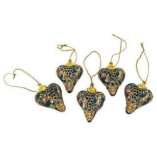 Vintage Cloisonne Heart Ornaments - S/5