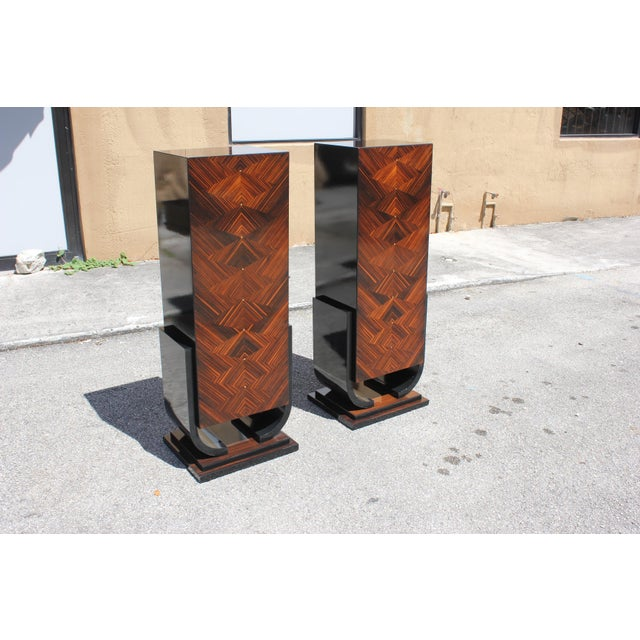 French Art Deco Macassar Ebony Pedestals - A Pair - Image 10 of 10