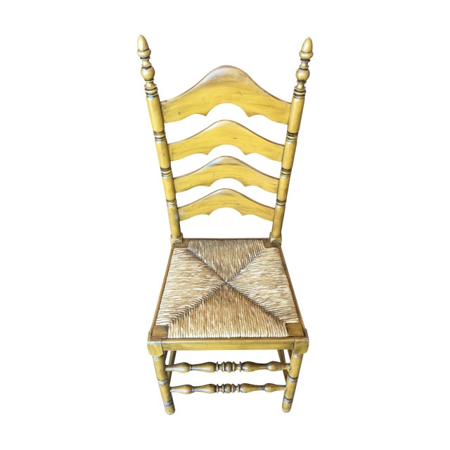 Antique Ladder Back Yellow Wood Chair - Image 1 of 10