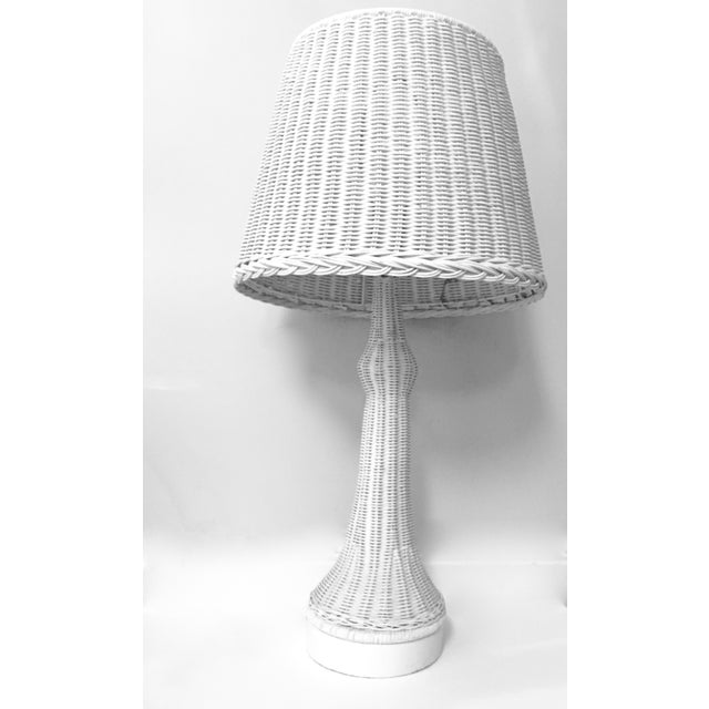 Vintage White Wicker Table Lamp Chairish