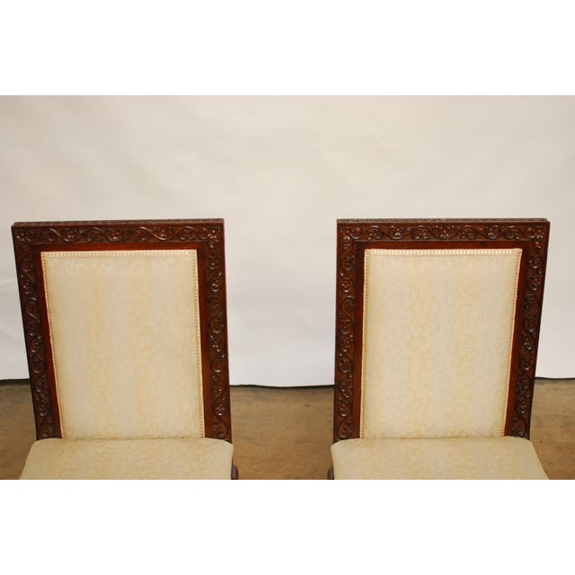 Carved Mahogany Low Wedding Chairs - Pair - Image 3 of 6