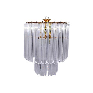 Vintage 5 Light Brass and Lucite Chandelier with Canopy
