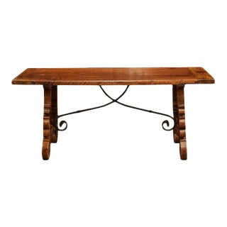 Spanish Carved Walnut Coffee Table With Iron Stretchers
