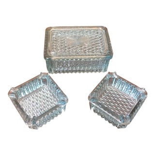 Tiffany Blue Glass Ashtrays & Humidor Box - Set of 3