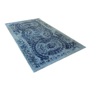 Pottery Barn Bosworth Printed Blue Wool Rug - 5' x 8'