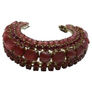 Pink Givre Glass Rhinestone Bracelet