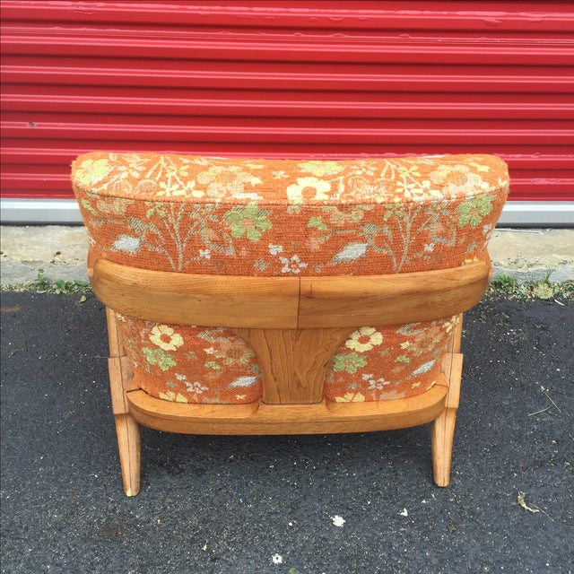 Mid-Century Orange Floral Lounger - Image 8 of 10