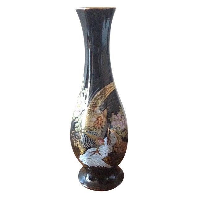 Image of Black Vintage Oriental Pheasant Vase
