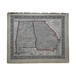 Antique Map of Georgia & Alabama