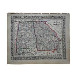 Antique Map of Georgia & Alabama