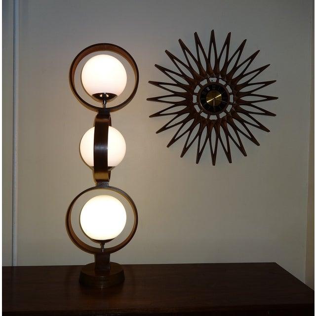 Image of Mid Century Modern Modeline Walnut 3 Tier Lamp