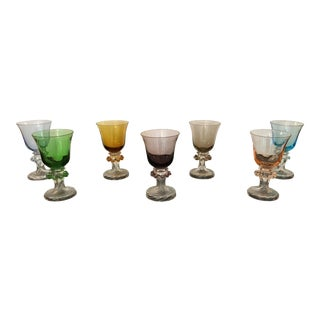 Vintage Multi Colored Blown Glasses- Set of 7