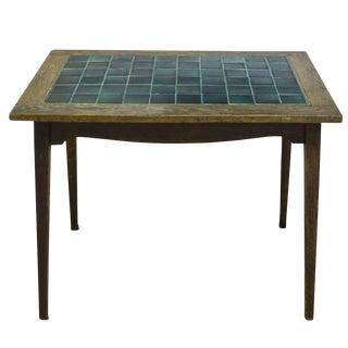 Antique English Wood and Tile Top Pub Table