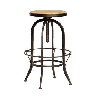 Reclaimed Wood & Iron Adjustable Barstool