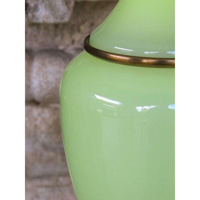 Vintage Paul Hanson Opaline Glass Lamps - a Pair - Image 3 of 5