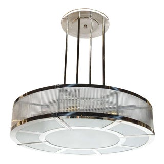 Streamline Art Deco Style Circular Chandelier in Polished Nickel & Glass