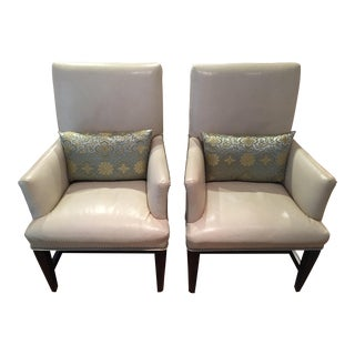 Vanguard Furniture White Leather Chairs - A Pair
