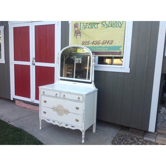 Vintage Shabby Chic Dresser with Mirror - Image 4 of 5