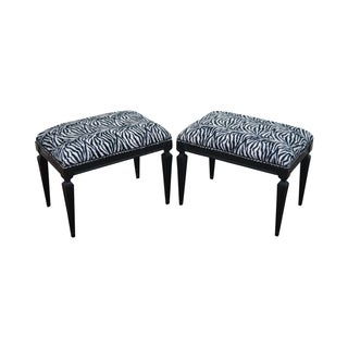 Hollywood Regency Black Ottomans Benches - A Pair