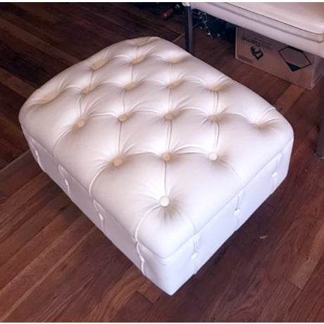 White Faux Leather Tufted Loveseat & Ottoman - Image 5 of 5