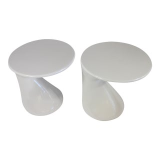 White Biomorphic Parabel Side Tables, Circa 1980's- A Pair