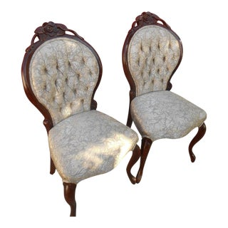 French Louis XV Style Hand Carved Dining / Fireside Chairs - Pair