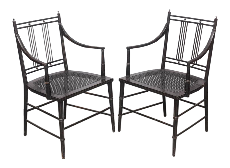antique designer side chairs decaso Holiday Art Deco pair of black caned bottomed chairs 1970s usa