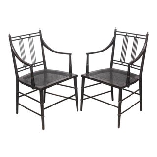 Pair of Black Caned Bottomed Chairs, 1970s, USA